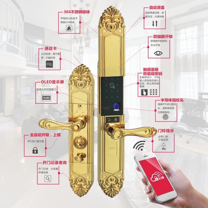 锁先生锁具产品 室内防盗门指纹密码锁图片